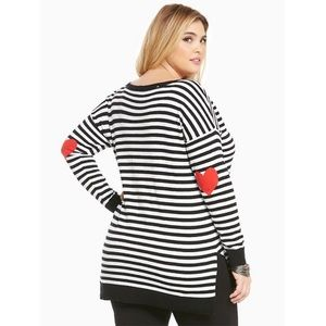 Torrid Black Striped Heart Patch Elbow Sweater Top